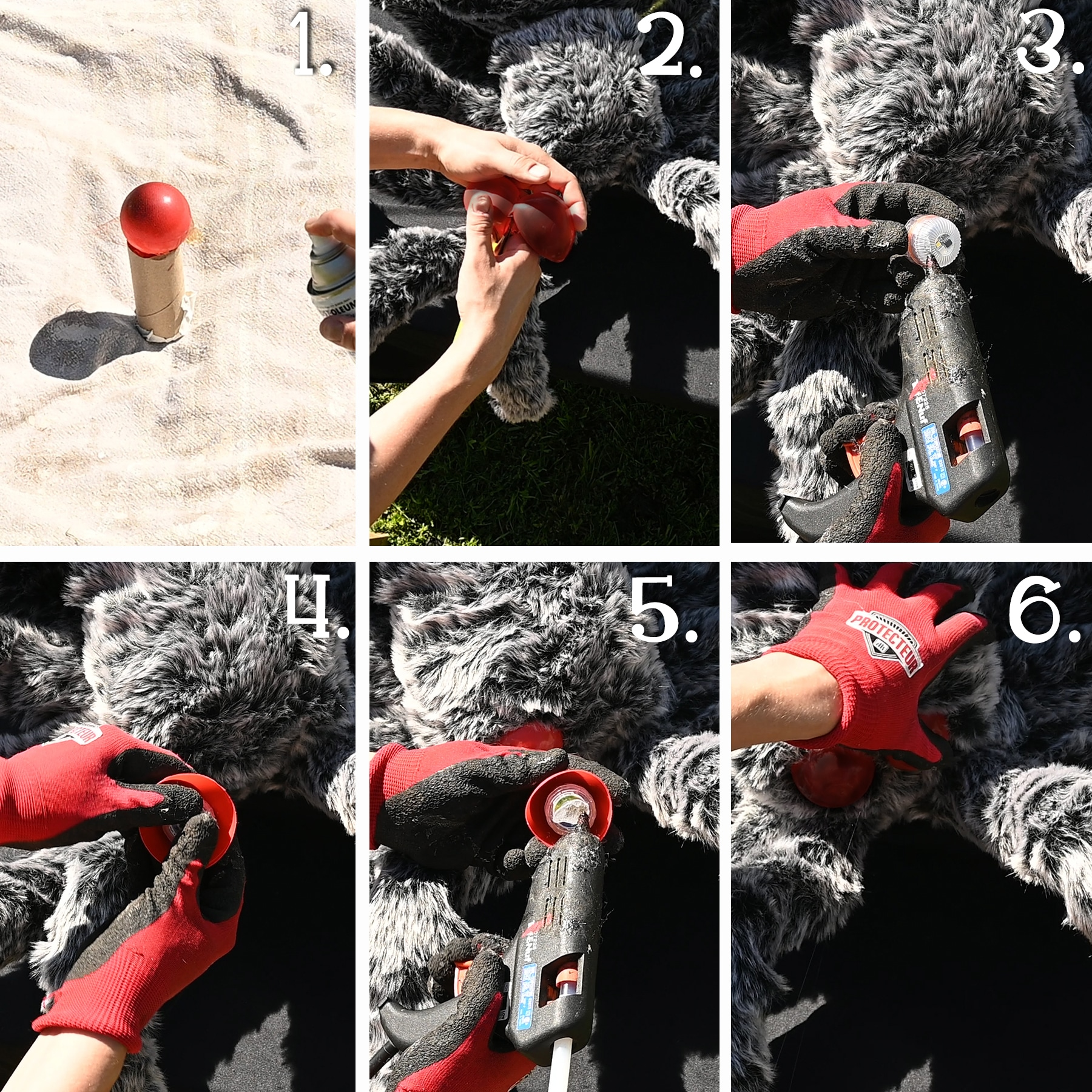 A six panel photo showing how to paint the round red balls to turn them into spider eyes.  The panel also shows how the lights are attached to the eyes to make them glow.