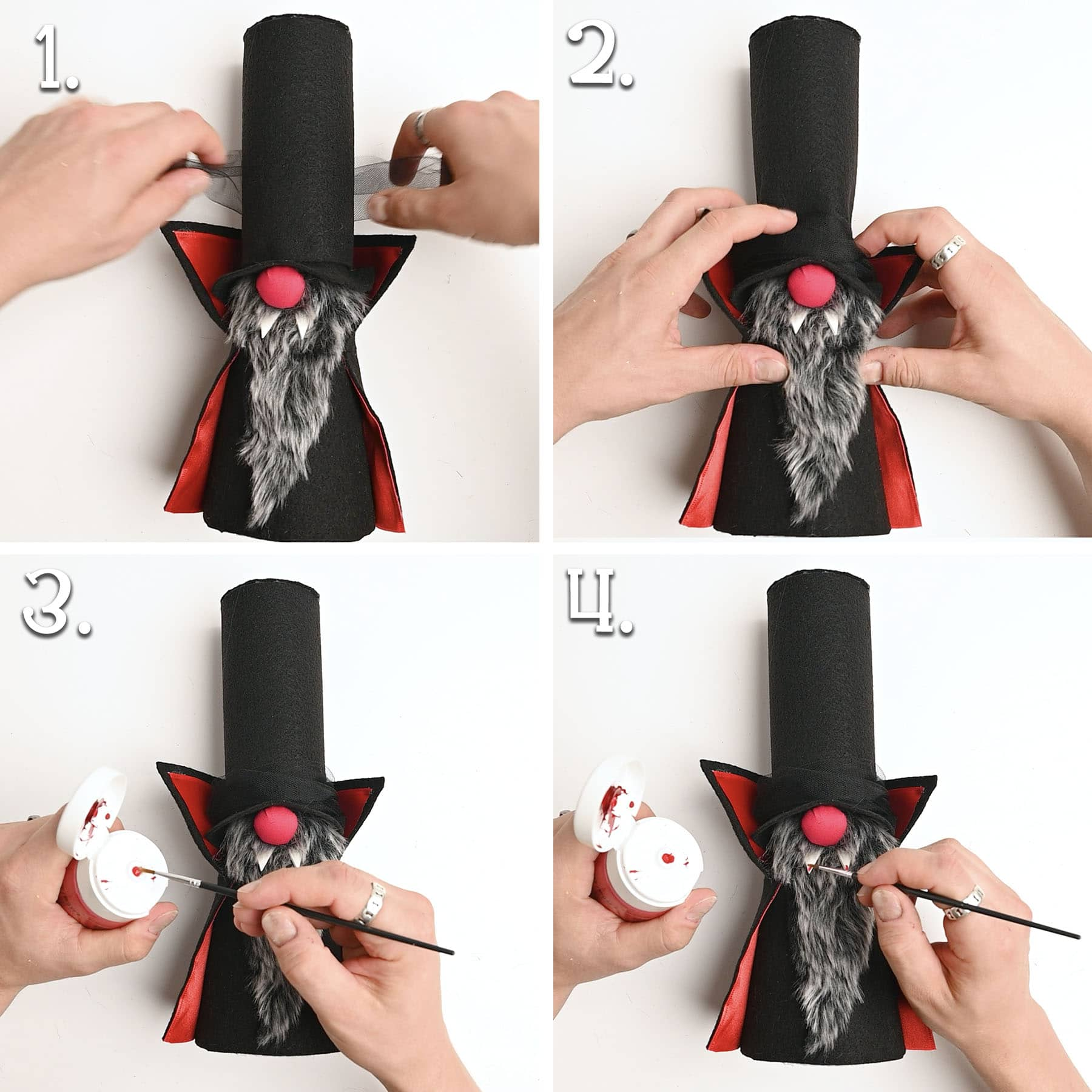 4 panels showing tulle being tied to the hat and red paint applied to the ends of the teeth.