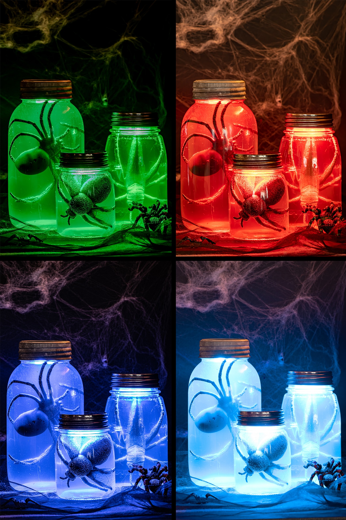 a four panel photograph showing 3 fake specimen jars with large bugs, t glowing different colors from green, red, purple and bright blue.