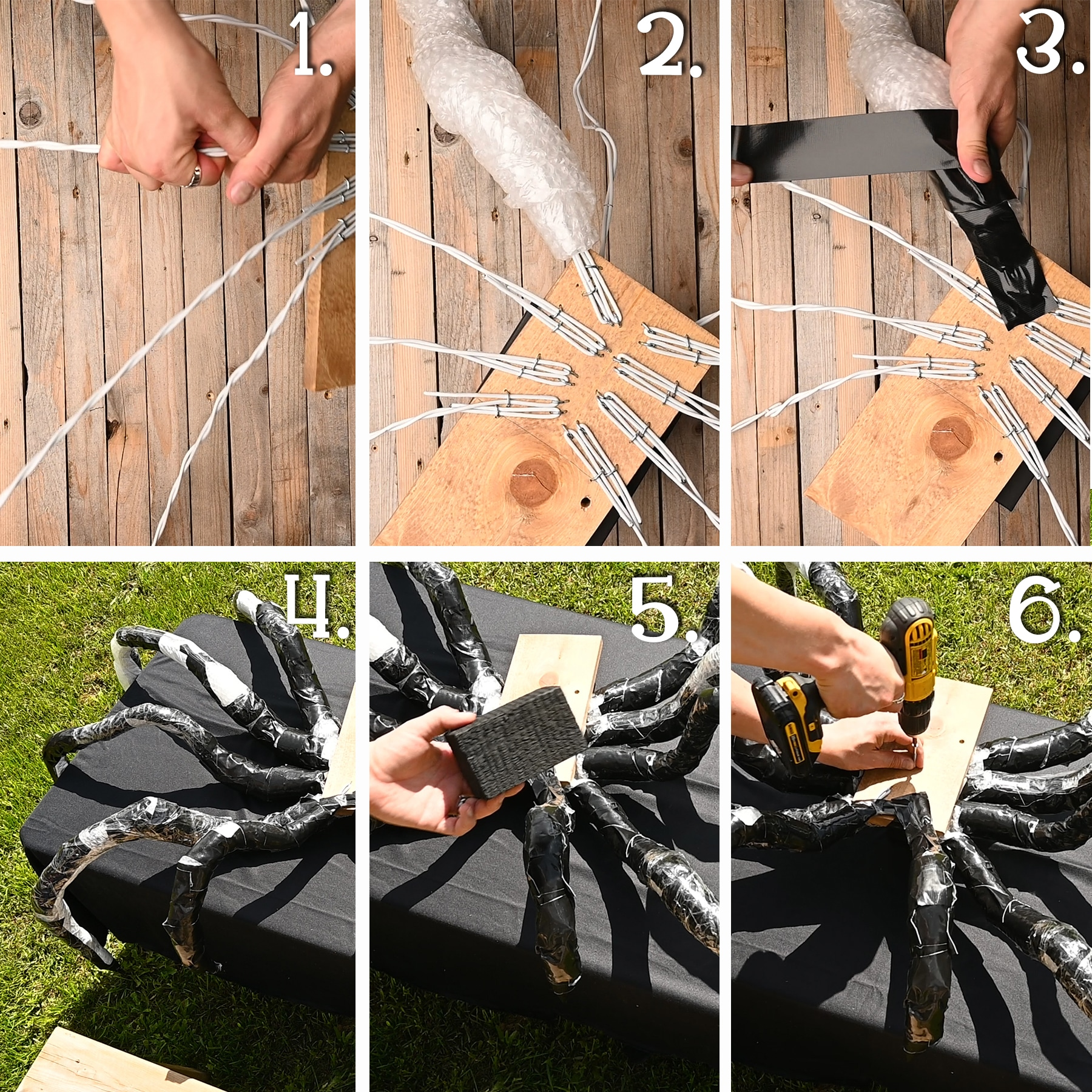 A six panel image showing how to bend the legs into the correct shape, how to wind the bubble wrap around the leg and attach with tape.  The image also shows how to attach the small piece of wood under the spider for stablization