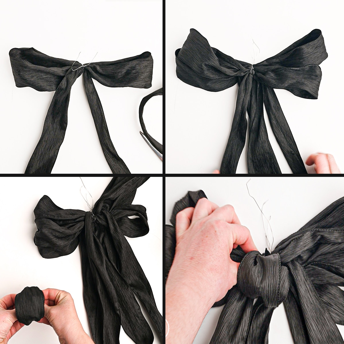 A four panel photograph of a black bow being made against a bright white background