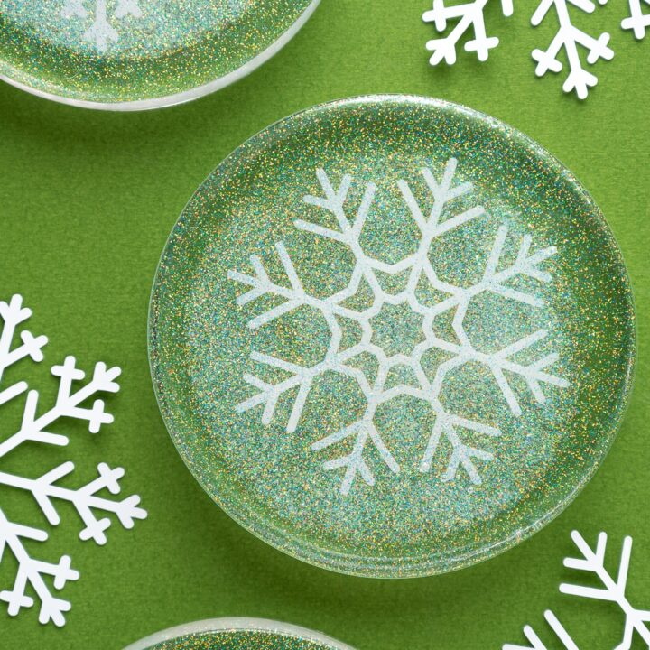 Love Epoxy Resin Coasters Featuring Snowflakes and Glitter