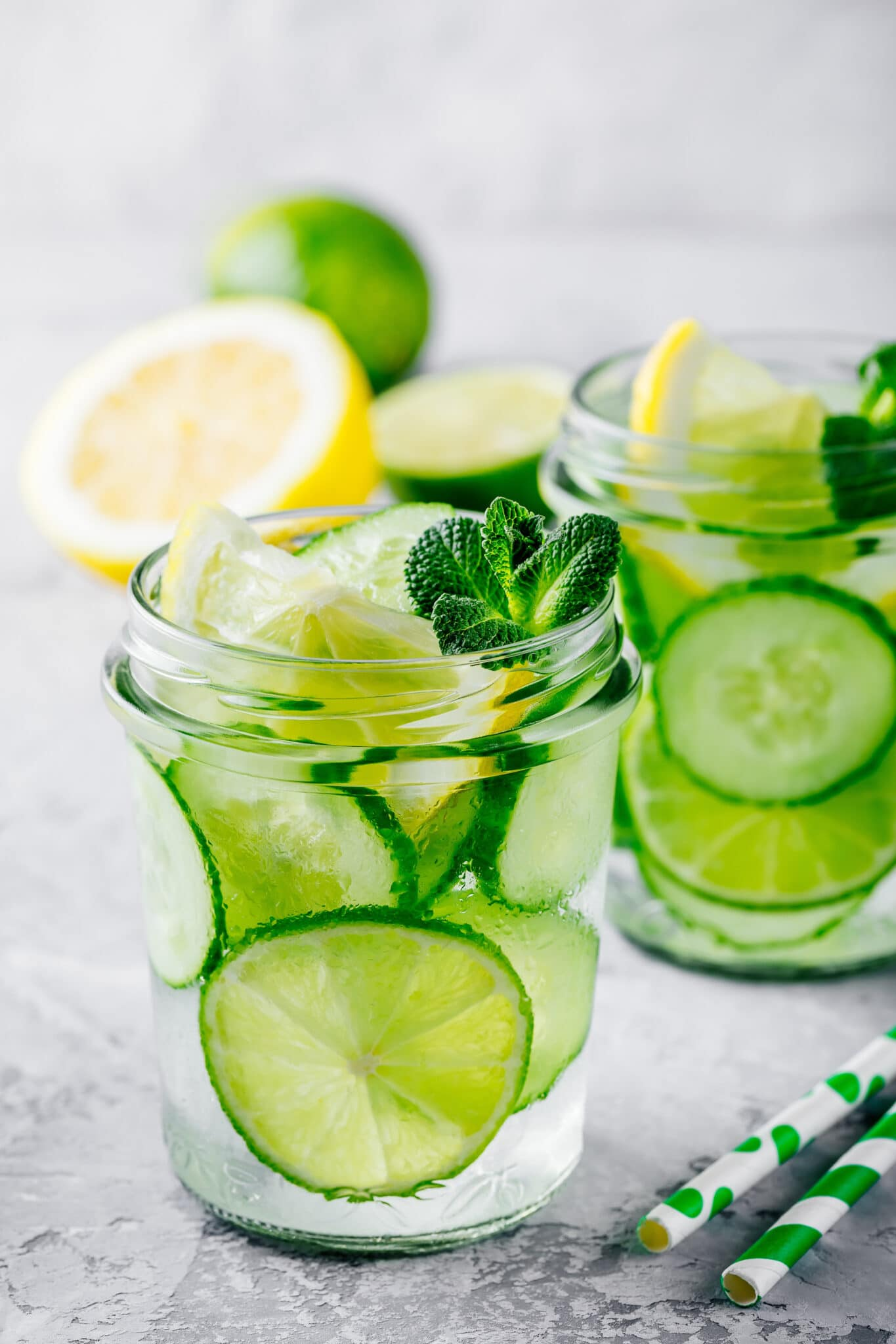 Cucumber and lime infused water.