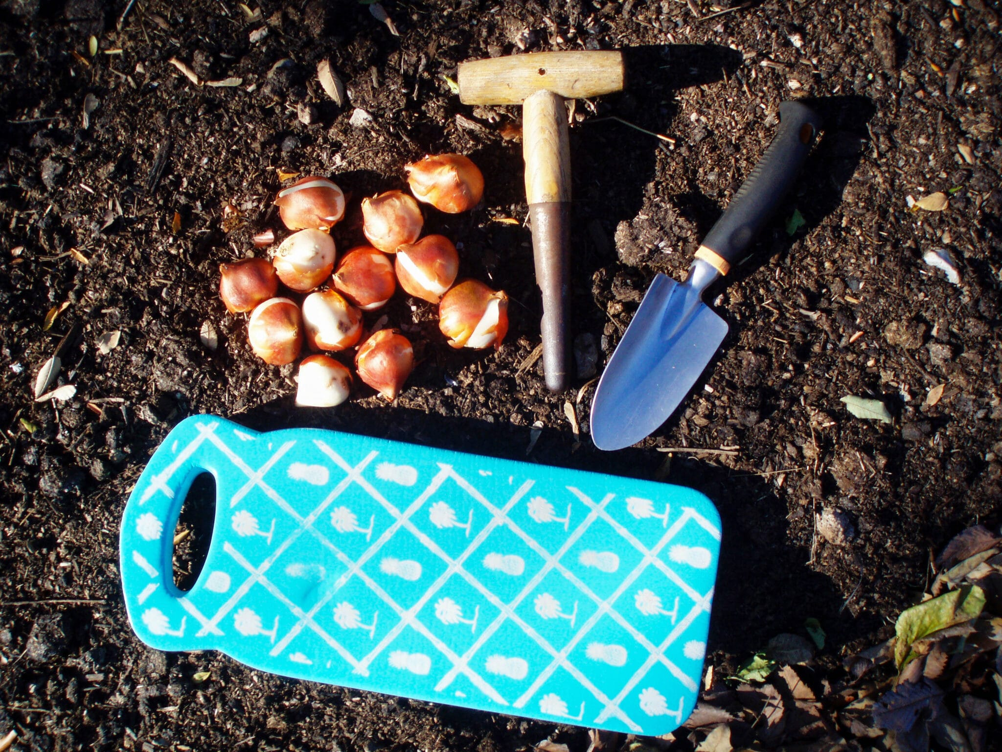 A garden kneeling pad next to other gardening tools.