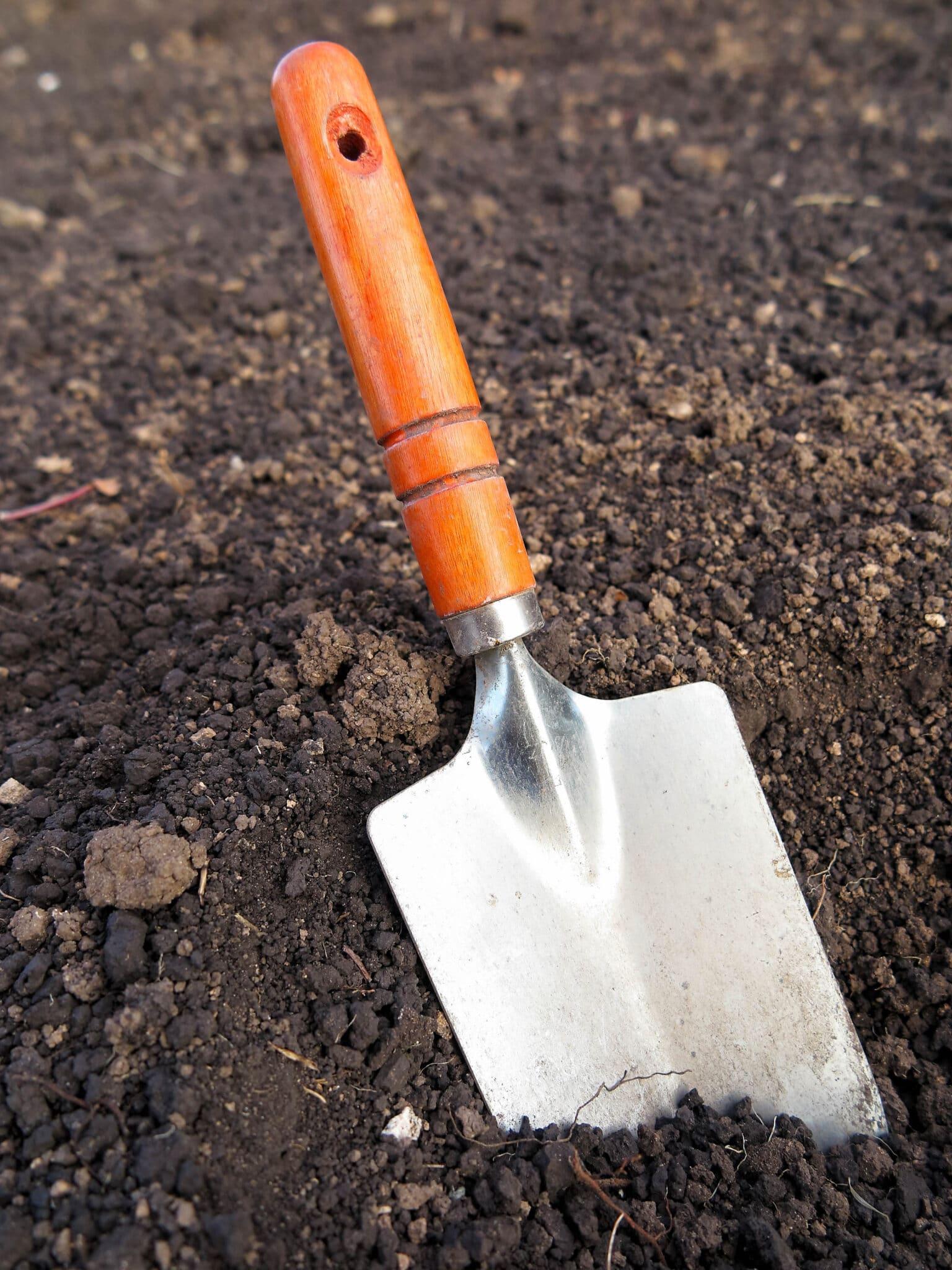 A garden trowel resting in loose soil.