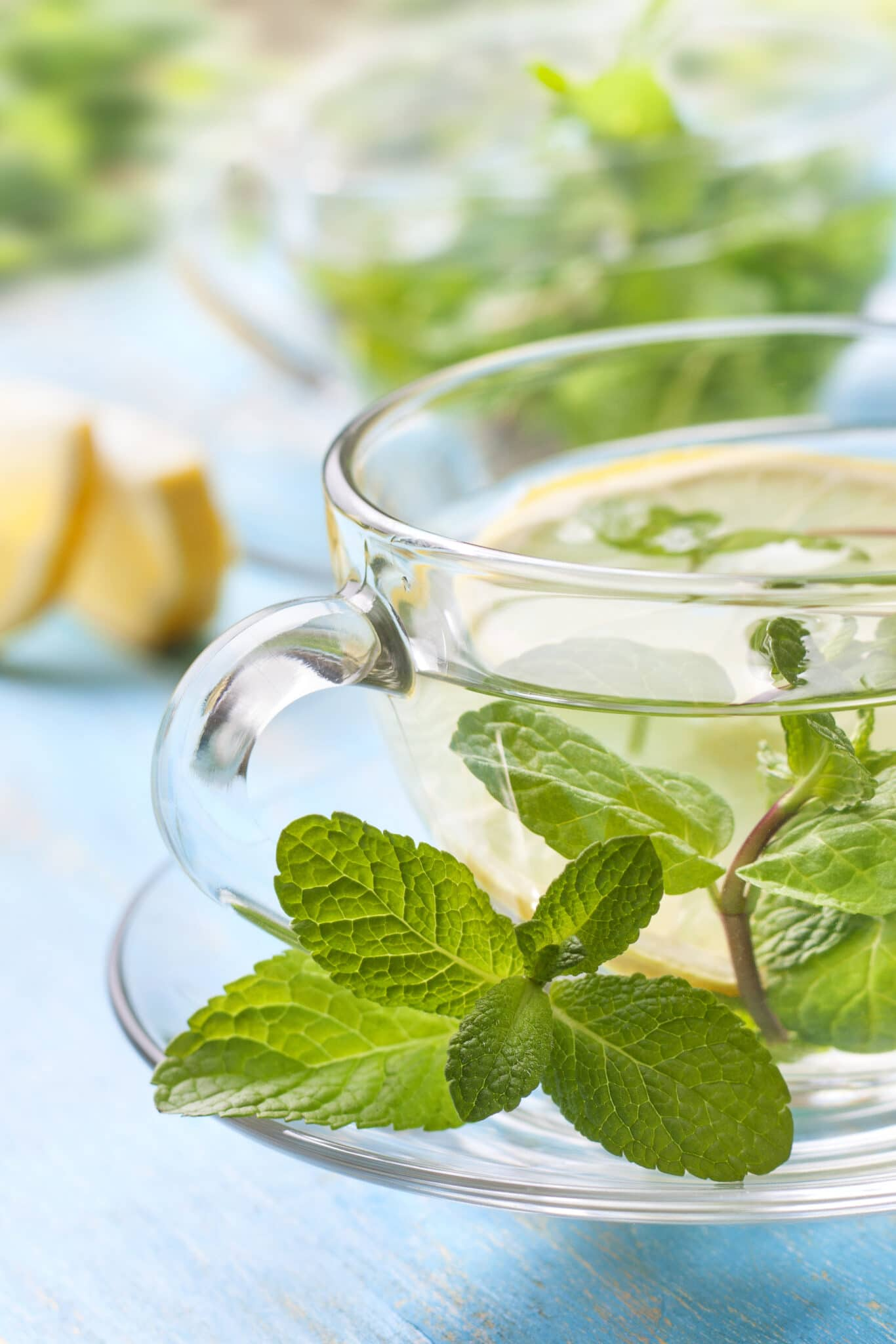 A cup of mint tea in a clear glass cup and saucer with sprigs of fresh mint.  Lemon wedges can be seen slightly out of focus in the background.