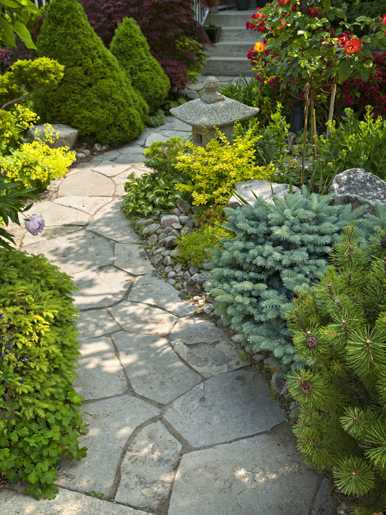 A stone path in a garden as an example of hardscaping.