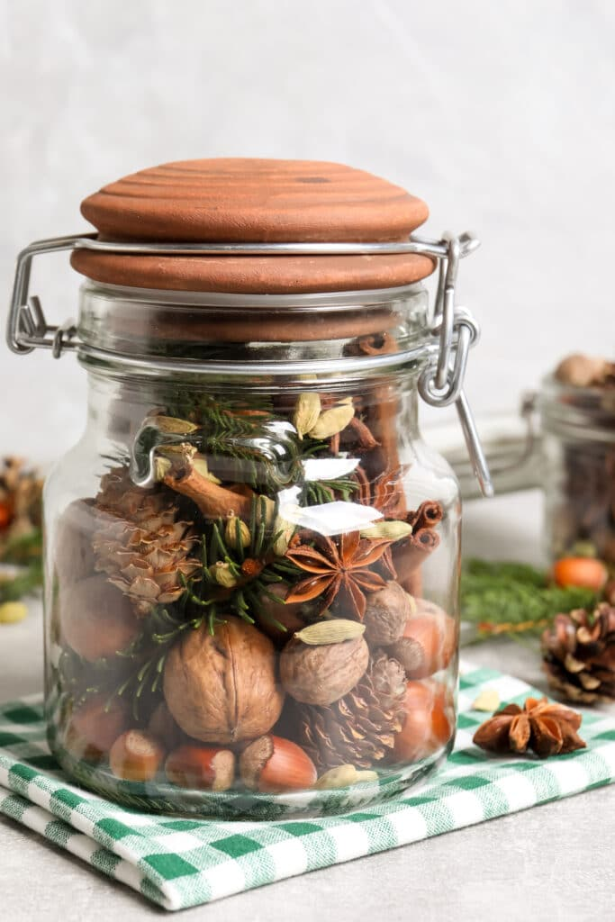 Winter potpourri with pine needles, pinecones,  cinnamon sticks and star anise.
