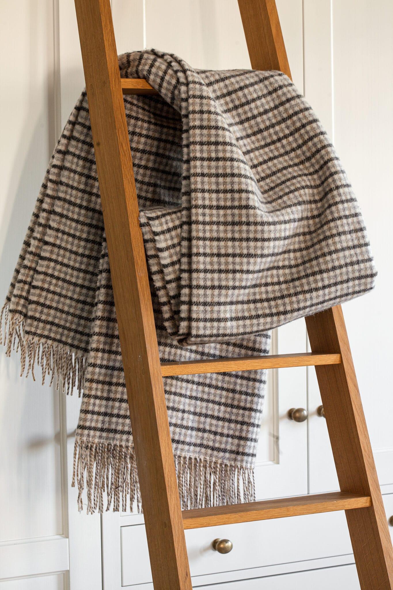 Uma escada de mão com um cobertor estendido sobre um degrau.