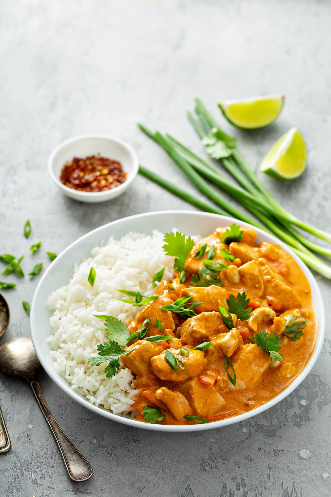 A curry dish decorated with fresh cilantro.