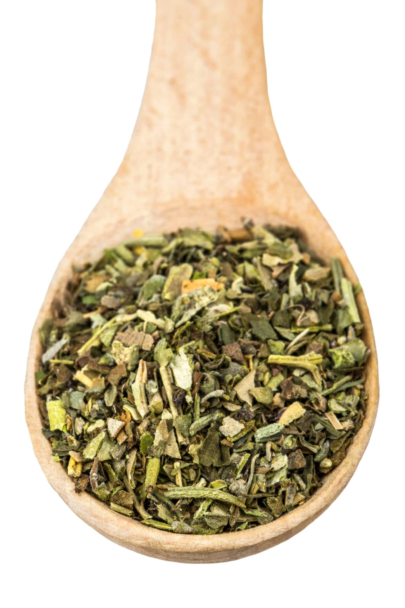 An upclose image of a wooden spoon filled with dried herbs.