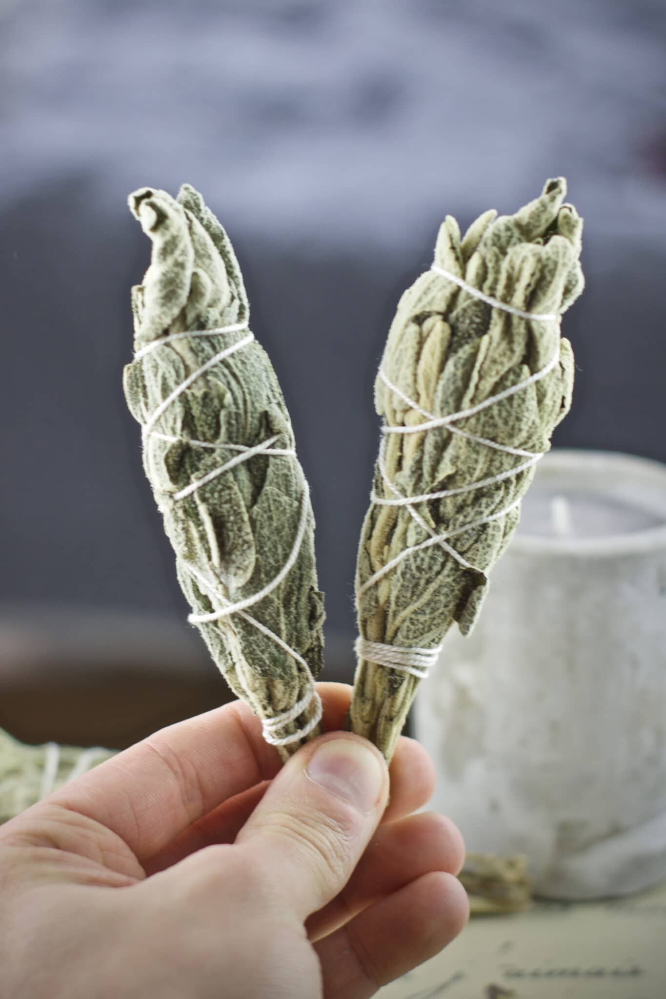 Two sage smudge sticks wrapped in white string.